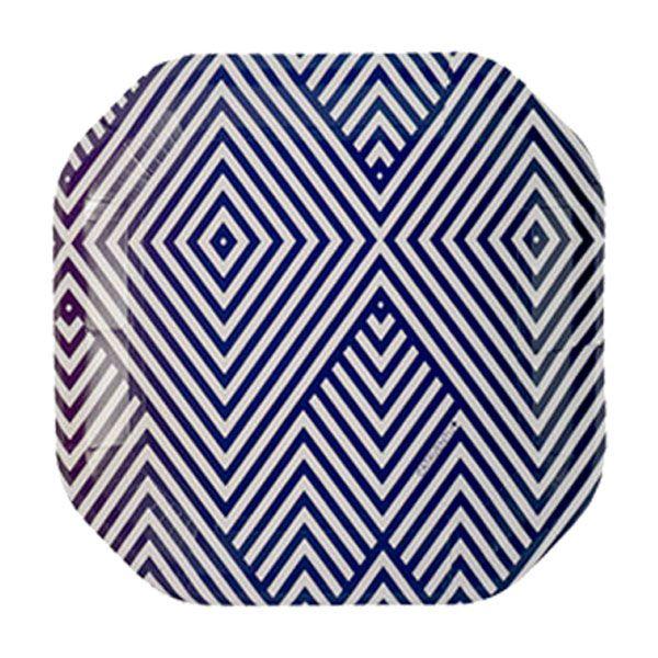 Prato de papel geométrico Azul Marinho - 21cm (8 unidades)