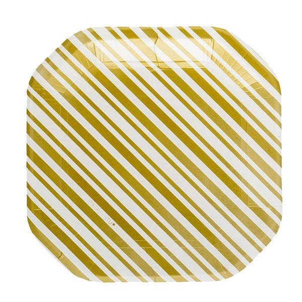 Prato de papel listra dourado - 21cm (8 unidades)