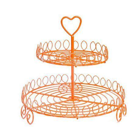 Suporte rústico de metal para doces - 2 Andares Laranja (Coração)