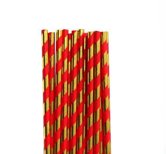 Canudo de papel Dourado e Vermelho - 20 unidades