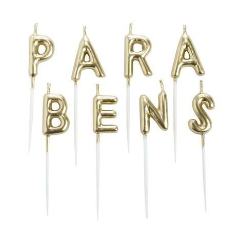 Vela PARABÉNS - Dourada (8 velas palito plástico)