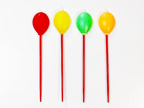 Vela Balões de aniversário (4 unidades)