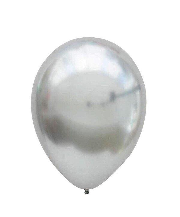 """Balão Chrome Prata - 11"""" (2 unidades)"""