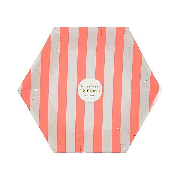 Prato de papel Listras Rosa - Meri Meri (12 un)