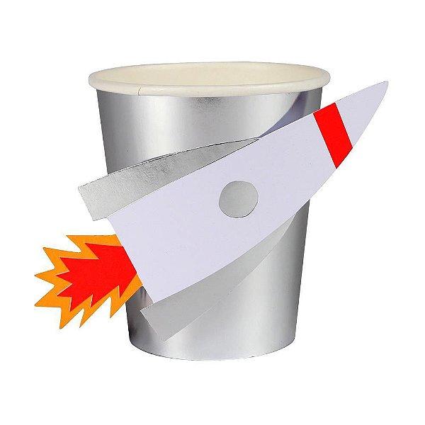 Copo de papel Foguete espacial - Meri Meri (8 unidades - 260ml)