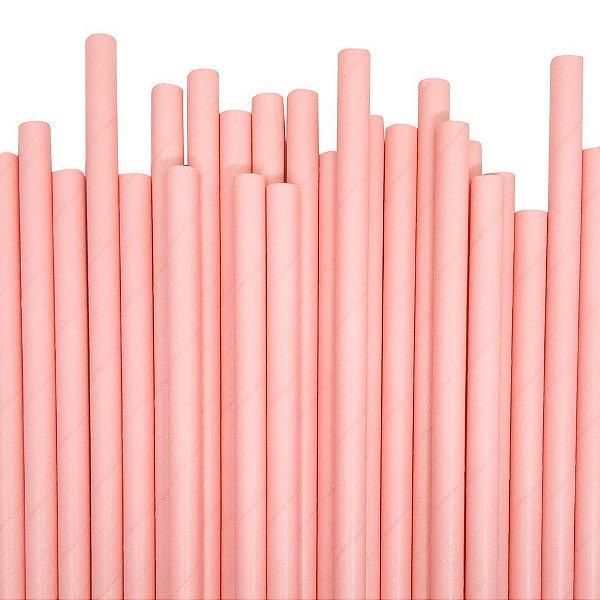 Canudo de papel liso - Rosa (20 unidades)