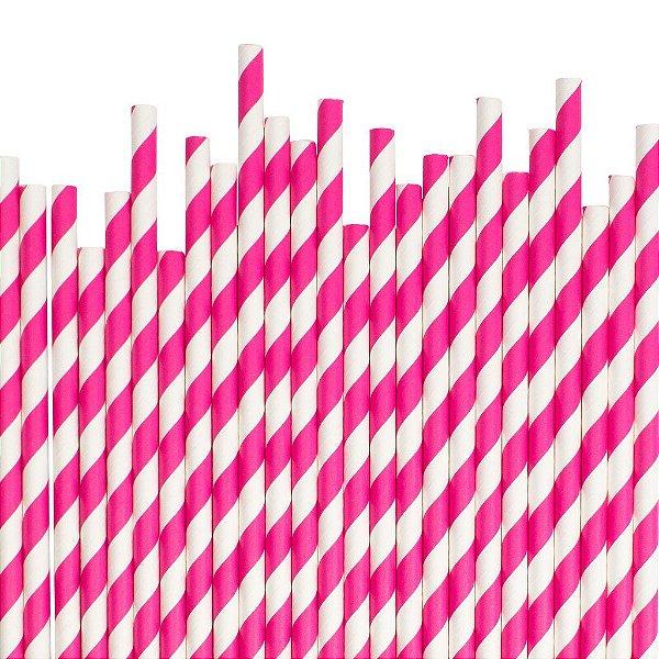 Canudo de papel listrado Pink - 20 unidades