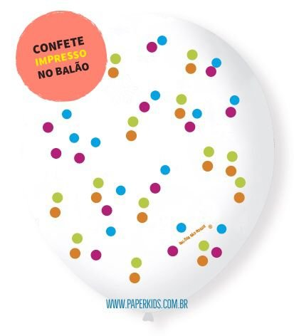 """Balão 9"""" transparente - Confetes coloridos (UNIDADE)"""