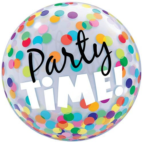 """Balão Bubble Qualatex 56 cm - Party Time! 22"""" (unidade)"""