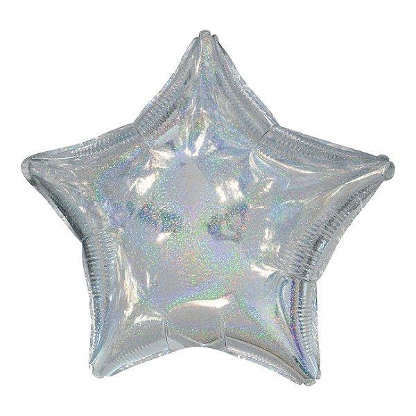 """Balão 20"""" Estrela Holográfica Prata - 50 cm (unidade)"""