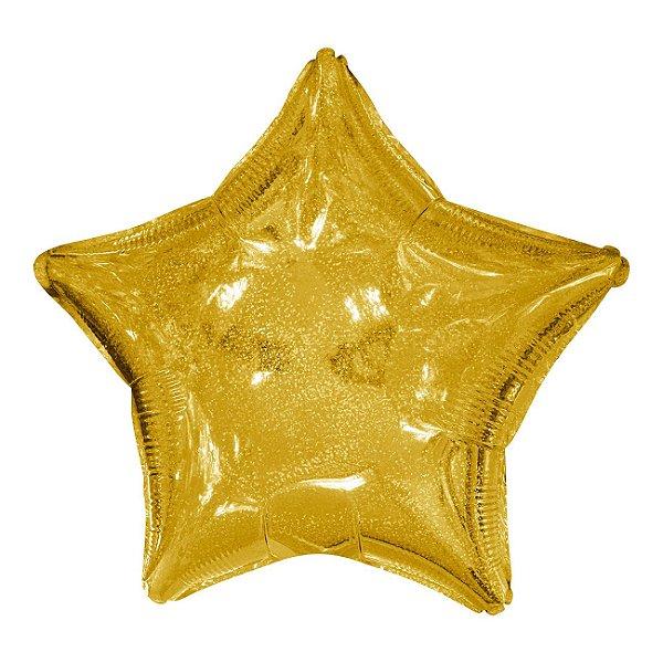 """Balão 20"""" Estrela Holográfica Dourada - 50 cm (unidade)"""