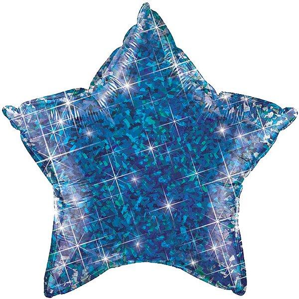 """Balão 20"""" Estrela Holográfica Azul - 51 cm (unidade)"""