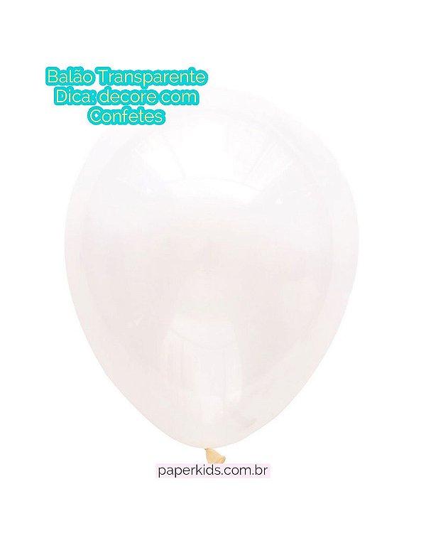 """Balão látex 11"""" - Transparente (unidade)"""