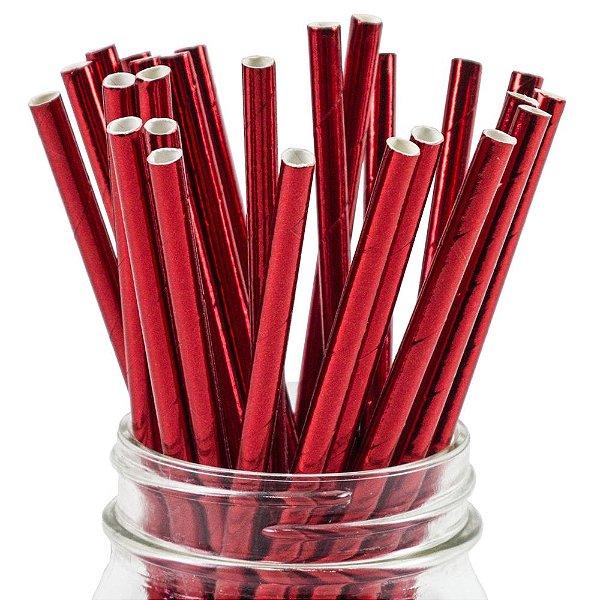 Canudo de papel metalizado Vermelho - 20 unidades