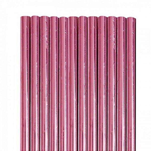 Canudo de papel metalizado Pink - 20 unidades