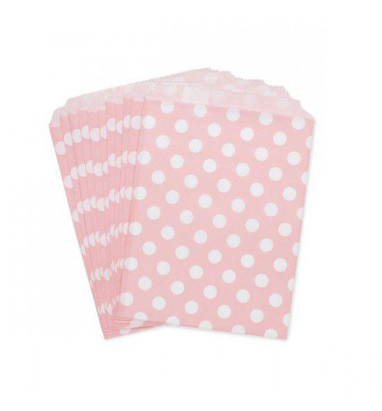Saquinho de papel rosa - Bolinhas 13x18 cm (10 unidades)