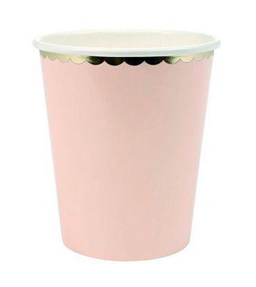 Copos de papel Candy Colors - Rosa Claro (10 unidades)