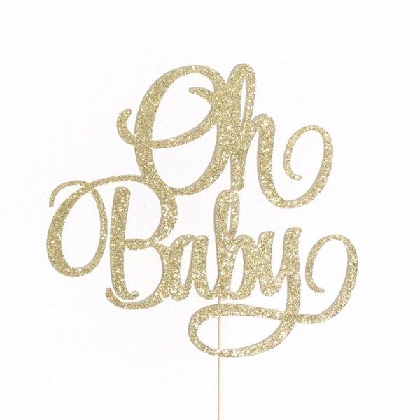 Topo de bolo acrílico dourado - OH BABY