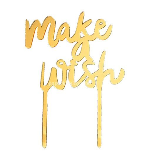 Topo de bolo acrílico dourado - MAKE A WISH