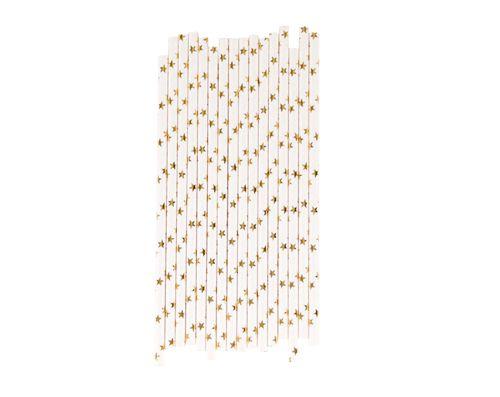 Canudo de papel Estrela dourada - 20 unidades