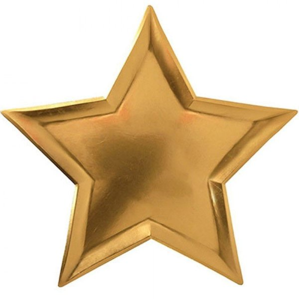 Prato de papel - Estrela Dourada (8 unidades - 27 cm)