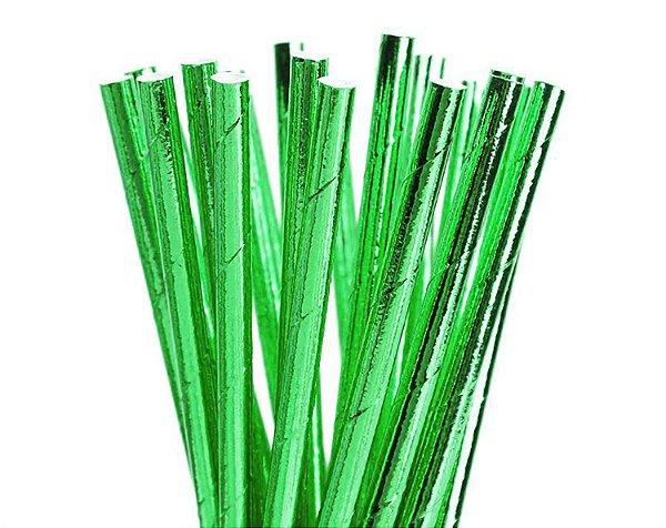 Canudo de papel metalizado Verde - (20 un)