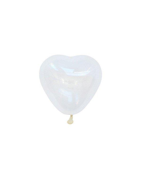 """Mini balão Coração 6"""" - Transparente (2 unidades)"""