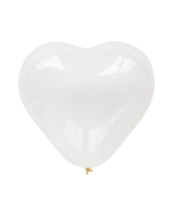 """Balão Coração 11"""" - Transparente (1 unidade)"""