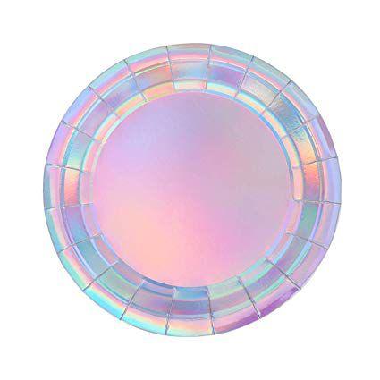 Prato de papel iridescente - Furtacor (8 unidades -18 cm)