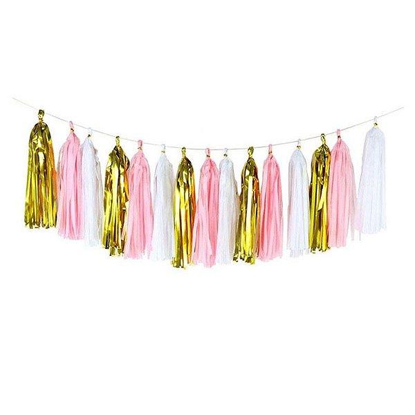 Guirlanda / Cauda Balão - Rosa/Branco/Dourado (15 pompons desmontados)