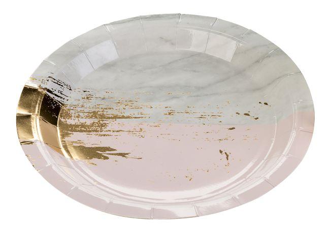 Prato de papel - Mármore Rosa e Dourado (10 un)