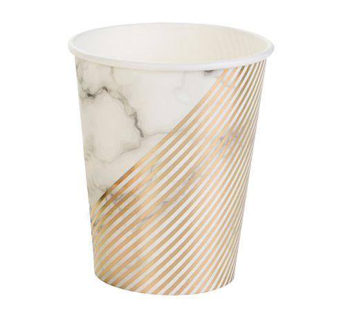 Copo de papel - Mármore e Dourado (10 unidades)