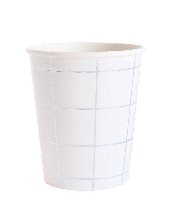 Copo branco - Grid Prata (10 unidades)