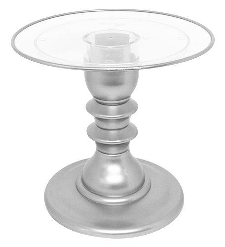 Boleira transparente Filete - Prata (22 cm x 19.5 cm altura)
