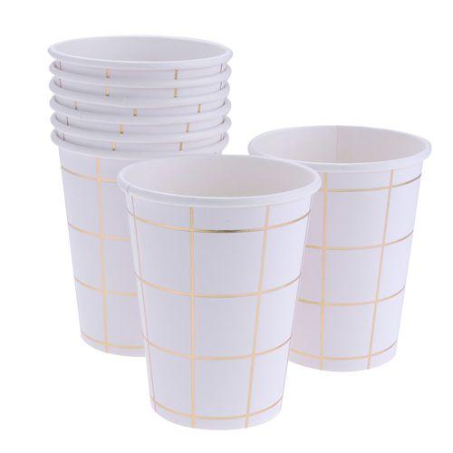 Copo branco - Grid Dourado (10 unidades)