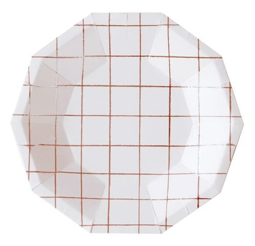 Prato branco - Grid Rose Gold (10 unidades)