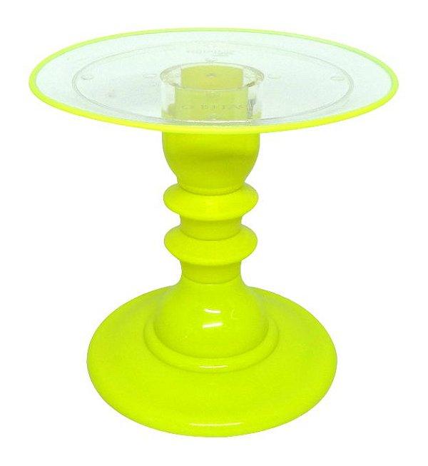 Boleira transparente Filete - Amarelo Neon (22 cm x 19.5 cm)