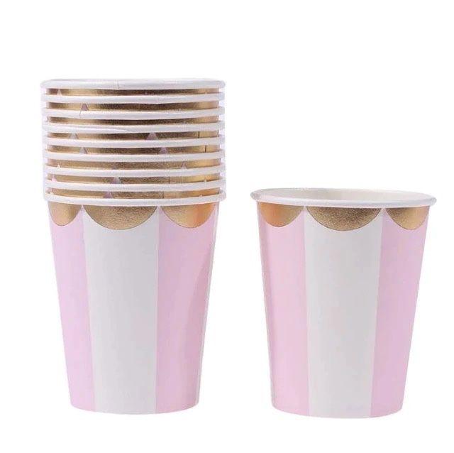 Copo de papel - Rosa/Branco/Dourado (10 unidades)