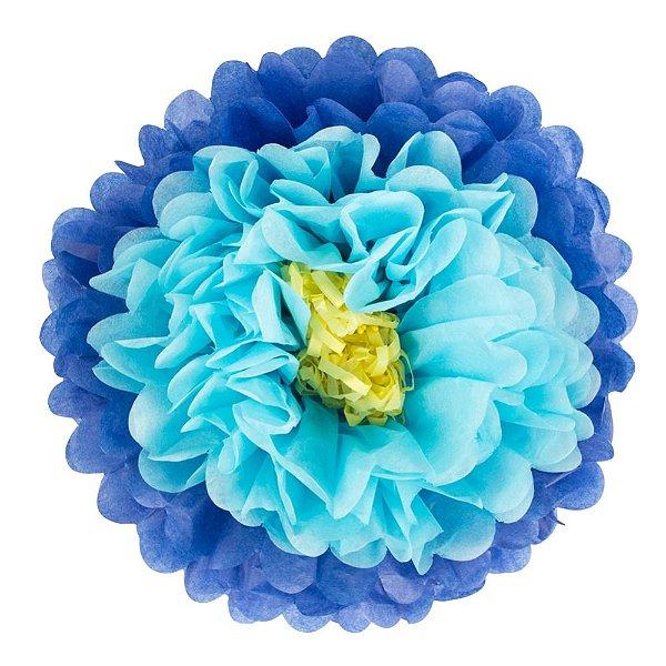 Flores de Papel 30 cm - Azul (3 unidades - Desmontadas)