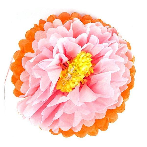 Flores de Papel 30 cm - Rosa e Laranja (3 unidades - Desmontadas)