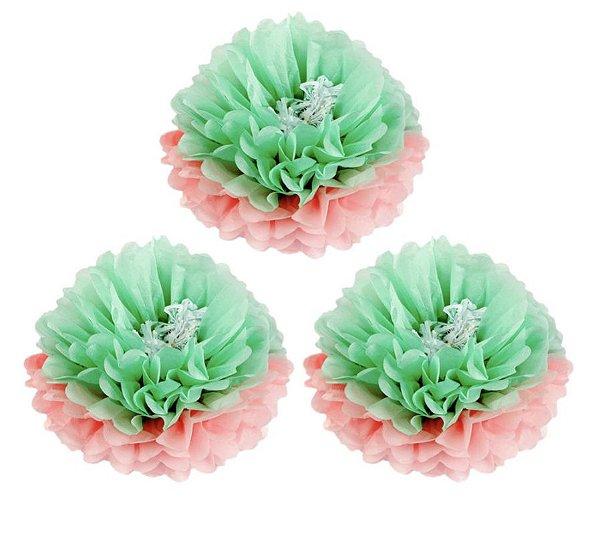 Flores de Papel 30 cm - Rosa e Verde Menta (3 unidades - Desmontadas)