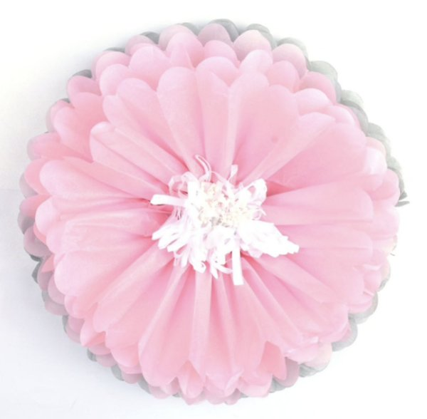 Flores de Papel 30 cm - Cinza e Rosa (3 unidades - Desmontadas)