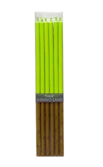 Vela de aniversário palito - Verde (14 cm - 6 unidades)