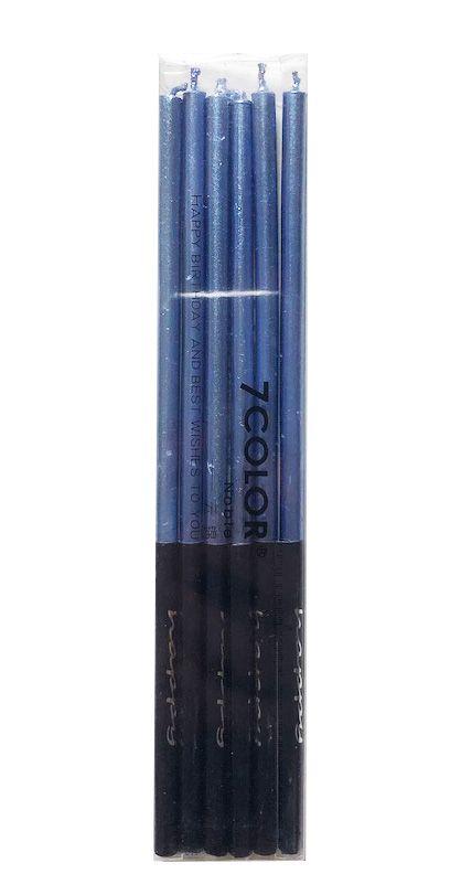 Vela palito metalizada - Azul (14 cm - 6 unidades)