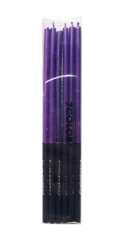 Vela palito metalizada - Púrpura (14 cm - 6 unidades)