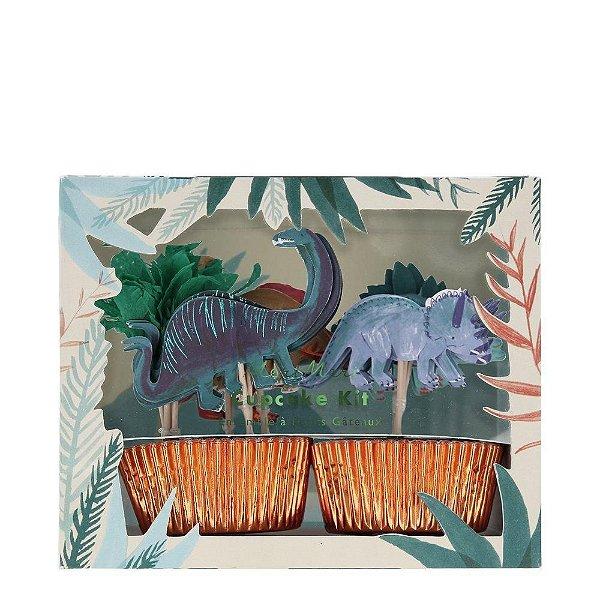 Kit cupcake Reino dos Dinossauros - 24 pins + 24 formas (Meri Meri)
