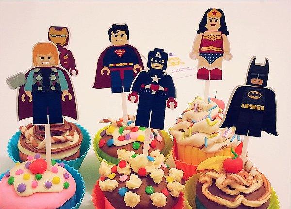 TAG para doces com RECORTE ESPECIAL - festa Heróis Lego (12 un)