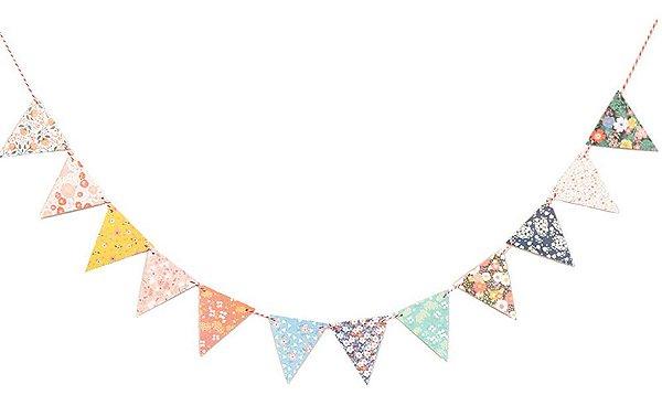 Bandeirola mix de estampas - Floral (12 peças - dupla face)