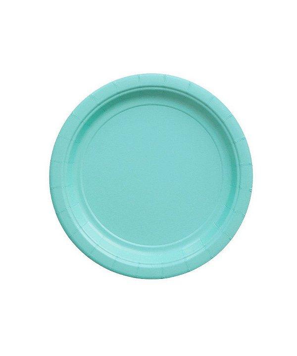 Pratinho de papel - Azul Turquesa 18 cm (8 unidades)