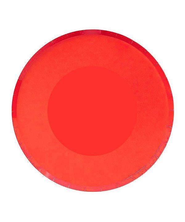 Prato de papel - Vermelho 23 cm (8 unidades)